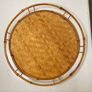 Circular bamboo woven tray